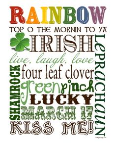 Saint Patrick's Day Subway Art - free printable (designs by cp)