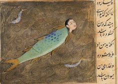 """This image is from the Book of Marvels by Zakarīyā ibn Muḥammad Qazwīnī, a thirteenth century Arab geographer and scholar …The creature pictured here is somewhat like a mermaid… The fish comes onto the land at night to eat grass and jumps back into the sea with sunrise. Some say that it breathes fire from it nose and so burns the grass while it is eating…"""""""