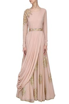 Ekru by ekta and Ruchira presents Blush pink embroidered drape gown with embroidered belt available only at Pernia's Pop Up Shop. Designer Party Wear Dresses, Kurti Designs Party Wear, Lehenga Designs, Indian Designer Outfits, Indian Outfits, Saree Gown, Anarkali Dress, Drape Gowns, Draped Dress