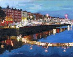 Color Print of Oil Painting Dublin, Ha'penny Bridge