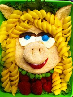 A Miss Piggy carb-fest, made of pasta, bread, peas and raspberries