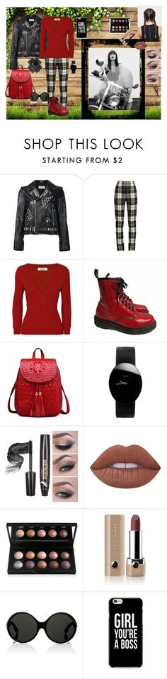 """""""The Boss"""" by teresarussell49 on Polyvore featuring Yves Saint Laurent, MaxMara, Valentino, Dr. Martens, Rado, Lime Crime, Marc Jacobs and Black"""