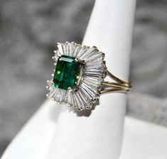Estate EMERALD DIAMOND Ballerina Setting Ring size 7.25 cert