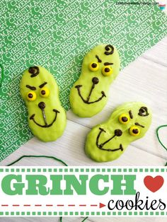 Grinch Cookies - Life is Sweeter By Design Grinch cookies are easy to make and kids will love them. These Grinch cookies are made with Nutter Butter cookies and these are great for Grinch themed parties or children's Christmas classroom parties at school. Grinch Party, Grinch Christmas Party, Christmas Deserts, Christmas Goodies, Christmas Candy, Kids Christmas, Christmas Kitchen, The Grinch, Grinch Cookies