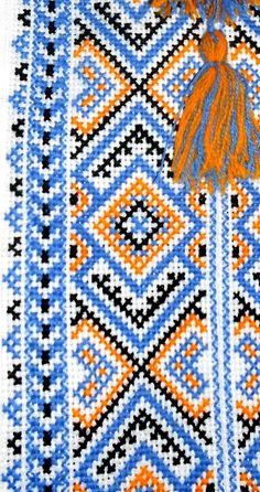 Ukrainian hand embroidered linen shirt for men Ethnic cross stitch blue & yellow embroidery White slavic wedding costume Father's Day gift Handmade Embroidery Designs, Beaded Embroidery, Embroidery Patterns, Cross Stitch Designs, Cross Stitch Patterns, Cross Stitch Geometric, Palestinian Embroidery, Cross Stitching, Couture