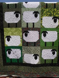 Sheep quilt. Cute with difference colors for a baby quilt. Now I just need to know someone with a baby lol