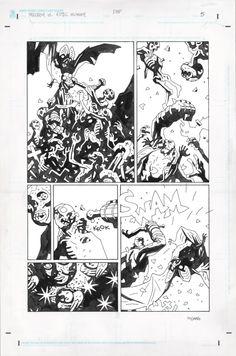 Hellboy vs. The Aztec Mummy par Mike Mignola - Planche originale