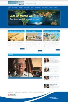 Site do aniversário de 50 anos da WEG, com depoimentos dos colaboradores, linha do tempo e comparação de imagens antes e depois. O site foi desenvolvido em wordpress.