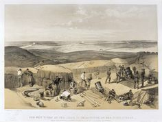 'The New Works at the Siege of Sebastopol on the Right Attack', by William Simpson, 1854 (lithograph). William Simpson (1823-99) was a Scottish painter who became noted for his depictions of the Crimean War (1853-6).