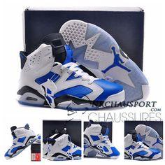 premium selection 42f09 a2a94 Nike Air Jordan 6   Classique Chaussure De Basket Homme Blanche Bleu-2  Chaussures Air