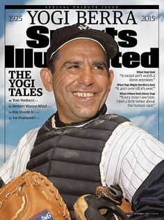October 1 2015 Sports Illustrated Presents Cover Closeup portrait of New York Yankee catcher Yogi Berra during spring training photo shoot Florida...