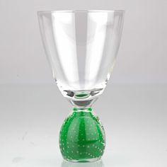 Vintage Bubbles Luftblasen Weinglas Trinkglas grün Perlora WMF o. Murano ? W1C