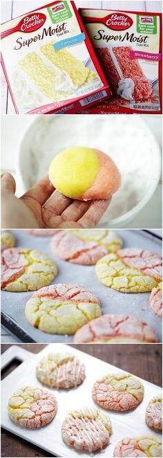 Strawberry Lemonade Cake Mix Cookies.  I am sure these can made with different flavor cake mixes that compliment each other. These were precious and delicious.Good party treat or something pretty & special to bring to friends/nieghbors. I'd make these over for sure. - J
