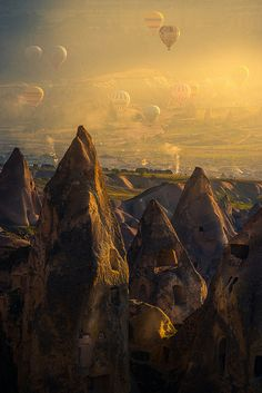 Hot air balloons above Cappadocia, Turkey