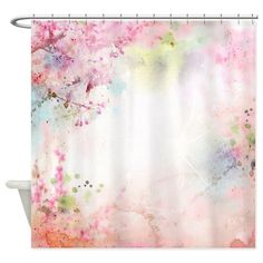 Pink Watercolor Floral Shower Curtain on CafePress.com