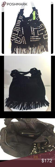 Sam Edelman Emily Bucket Bag Black suede, fringe and silver studs large roomy bag rolled leather handles interior zipper pocket Sam Edelman Bags