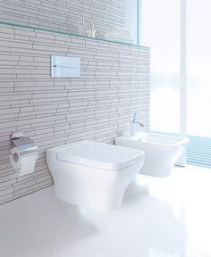 White Bathroom. Love the walls' texture!