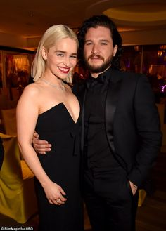 Best of British: Emilia and Kit looked ready to party as they cuddled up inside the HBO ba...