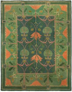 This vintage carpet tapestry features a Charles Voysey rug design. The overall color saturation scale of this piece is a visually pleasant shade of verdant. The central medallion motif features a three columns of plant themed tendril designs. The central rose column motif design symmetrically bisects the length of the rug. On both sides of the central rose tendril design are two rosebud themed tendril design motifs. The thin guard border is a rectangular, root design buffer. The branch and r...