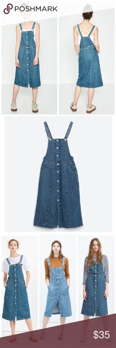 """Zara i am denim collection dungarees Zara """"i am denim"""" collection dungarees. Denim button up skirt. Clasp closure at shoulders. adjustable straps, functional pockets, and side button to adjust waist fit. Rock n' Love detail in white on back upper right side. Great closet staple can transition from summer to fall effortlessly. Soft denim  Zara Dresses Midi"""