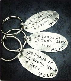 Gift for Teacher - Hand Stamped Gift - Keychain for Teacher. Sterling Silver