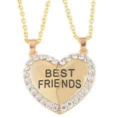 Himerus BFF Best Friend 2 Pieces Heart Split Puzzle Pendant Necklace Gold Tone Length of the necklace is about 25 inches Materials are gold color alloy and rhinestone To avoid tarnish, limit exposure to water, perfume, or body cream Package includes 1 necklace set, totally 2 pieces separate necklaces: one for you, one for your BFF Two pendants combine into one heart: symbolize the heart to heart friendship between you and your best friend MJartoria Split Valentine Heart Rhinestone Best…