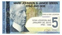 Stag and Doe Ticket that looks like a 5 dollar bill. Fun Stag and Doe ...