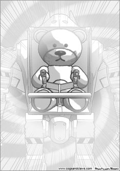 Cs&Cs wordless webcomic page Rocket Raccoon, Teddybear, Cogs, Tmnt, Gundam, Aliens, Manga, Fondant Teddy Bear, Manga Anime