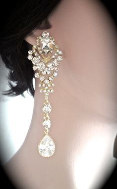 Bridal jewelry  Long gold rhinestone earrings by QueenMeJewelryLLC