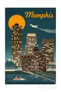 Memphis, Tennesseee - Retro Skyline - Lantern Press Artwork (Art Print Available) Text Poster, Vintage Films, Skyline Art, Memphis Skyline, Memphis Art, Memphis Tennessee, Magnet, Free Canvas, Stock Art