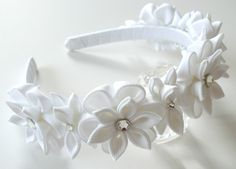 A flowers are made in the technique of tsumami kanzashi. Plastic headband is… Fabric Flower Headbands, Flower Crown Headband, Wedding Headband, Fabric Flowers, Bridal Hair, Baby Headbands, Ribbon Art, Ribbon Crafts, Flower Crafts