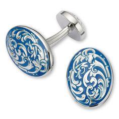 Enamel blue oval filagree cuff link   Men's cuff links from Charles Tyrwhitt   CTShirts.com