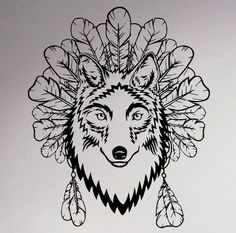 Wolf and Feathers Wall Vinyl Sticker Native American Decal Wildlife Home Interior Bedroom Removable Decor