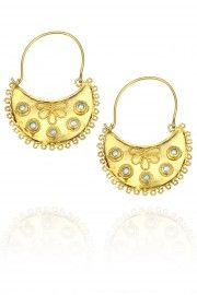 Gold plated pearl and emerald stone embellished crescent earrings