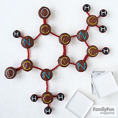 Brain Food: These creative molecule cupcakes pay tribute to theobromine, a substance found in the cacao plant and a key component of chocolate. We predict all its elements will be quickly devoured at a mad scientist or cooking show party.