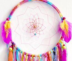 Sherbert Fairy Large Native Style Woven Dreamcatcher by eenk