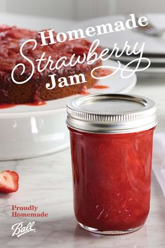Jar up the freshness of summer with Ball®'s Homemade Strawberry Jam. This timeless treat is delicious as a spread on a freshly baked biscuit, paired with peanut butter, or spooned into some yogurt! You can even spread some of your jam into a grilled cheese for a sweet surprise for the kids! #BallProudlyHomemade Homemade Strawberry Jam, Strawberry Balsamic, Strawberry Preserves, Ball Canning Recipe, Canning 101, Canning Recipes, Lemon Recipes, Jam Recipes