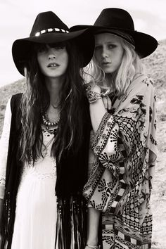 Boho /bohemian rock style -big hats. Cou try road babes!