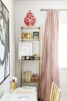 gold bookshelf