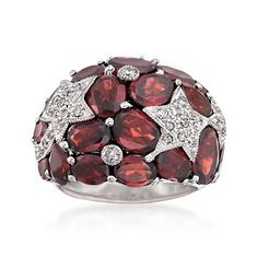Ross-Simons - 12.50 ct. t.w. Garnet and .19 ct. t.w. Diamond Star Dome Ring in Sterling Silver - #842403