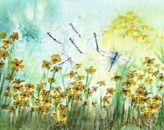 Dragonfly and Daffodils Watercolor Painting by MarilynKJonas