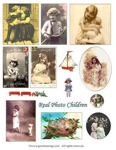 Vintage Images of Children and Babies Digital Collage Sheet Download No.210