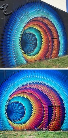 Hypnotic mural by artist Hoxxoh   mural   street art   optical illusion art   optical illusions   outdoor painting