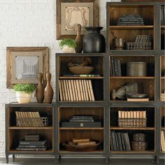 Bookcase Styling - Library - this is such a great bookcase! Monochromatic color looks nice Contemporary Bookcase, Contemporary Interior, Bookcase Styling, Bookshelf Design, Rustic Furniture, Home And Living, Living Rooms, Diy Home Decor, Sweet Home