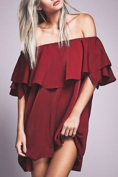 Red Off The Shoulder Ruffles Dress