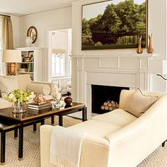 Neutral Elegant Mantel - 25 Cozy Ideas for Fireplace Mantels - Southern Living My Living Room, Home And Living, Living Room Decor, Ivory Living Room, Formal Living Rooms, Living Spaces, Modern Country, Design Salon, First Apartment Decorating