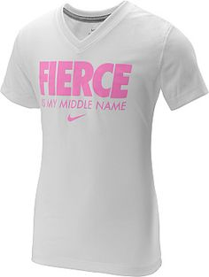 With this NIKE® girls' Fierce Is My Middle Name short-sleeve t-shirt, she can flaunt her awesomeness to the world. It's screenprinted with the confident message and designed with a v-neckline for a flattering fit.<br><br>Get your new NIKE® t-shirt today from Sports Authority.
