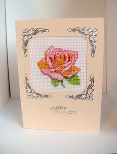 Rose cross stitch birthday card in peach and by BuzzybeeBeading, £4.00