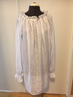 Short Chemise White Shadow Stripe Chemise Blouse for Renaissance Pirate Steampunk Victorian LARP Cosplay