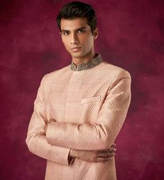 Embroidered color coat Indian Suits, Indian Wear, Shyamal And Bhumika, Mens Sherwani, Dia Mirza, Collar Designs, Indian Bridal, Get The Look, Blush Pink